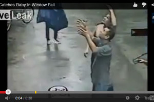 Man catches baby in Window fall